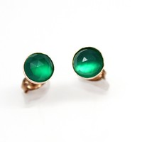 Green Onyx Gemstone Stud Earrings