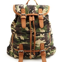 Camouflage Print Canvas Backpack: Charlotte Russe