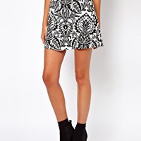 ASOS Skater Skirt in Baroque Print at asos.com