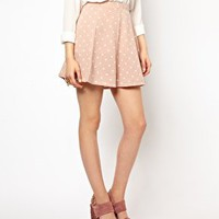 River Island Heart Printed Skater  Skirt at asos.com