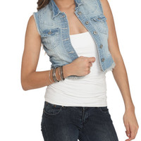 Frayed High-Low Denim Vest | Shop Americana at Wet Seal