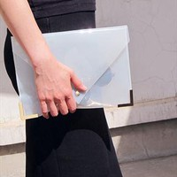 Clear Jel Candy Envelope Clutch Purse Bag Blue TRANSPARENT from EastWorkshop