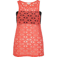 Coral lace bandeau vest - sleeveless tops - tops - women