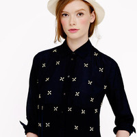 Collection jeweled boyfriend popover - blouses - Women's shirts & tops - J.Crew