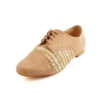 Raffia Inset Lace-Up Oxford: Charlotte Russe