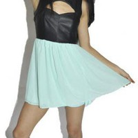 Leather and Mint Cutout Dress with Back Cutouts