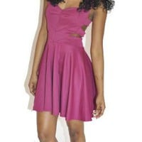 Fuschia Cage Back Skater Dress