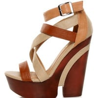 Yoki Mogan Beige Color Block Strappy Cutout Platforms - $42.00