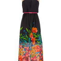 Belted Strapless Chiffon Floral Print Maxi Dress