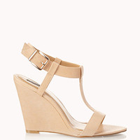 Faux Leather T-Strap Wedges