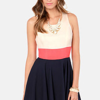 Three-sy Does It Navy Blue, Coral, and Cream Dress