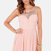 Champagne Bubbles Blush Pink Sequin Dress