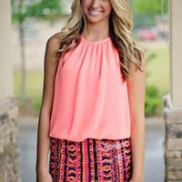 Neon Dress with Aztec Print Sequin Bottom