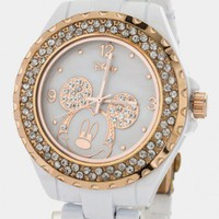 MICKEY MOUSE WHITE BEZEL CRYSTAL WATCH