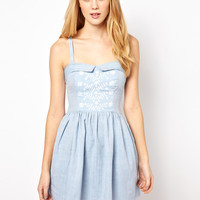 Aimée by People Tree Embroidered Denim Bandeau Skater Dress