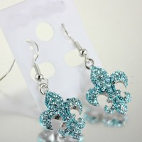 Fashion Rhinestone Fleur De Lis Earrings-e2125f/aqua