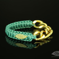 Teal Cobra Silky Bracelet with Golden Chain