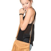 Brandy ♥ Melville |  V-Fringe Brown Purse - Just In