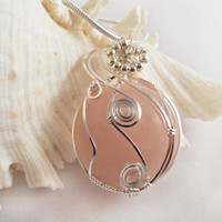 Wire Wrapped Pendant, Handmade Jewelry, Rose Quartz