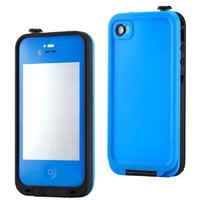 GEARONIC Blue Waterproof Shockproof Full Body Skin Case Cover Pouch for iPhone 4 4S 4G, Multi Purpose Protective Skin for water, shock, snow