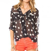 Alfie Blouse in Navy and White Polka Dots - ShopSosie.com