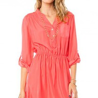 Arabelle Dress in Coral - ShopSosie.com