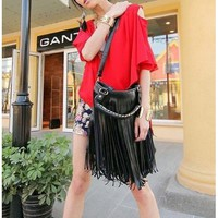 2013 High Quality Lady Student Punk Tassel Fringe Handbag Satchel Purse Hobo Tote with Shoulder Strap