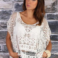 Cream Crochet Top from missbehaver