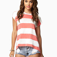 Split Back Striped Tee