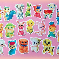 Vintage kitsch squeaky toys sticker pack (set 1)