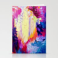 IN TIMES OF CHAOS - Intense Nature Abstract Acrylic Painting Wild Rainbow Volcano Waves Fine Art  Stationery Cards by EbiEmporium