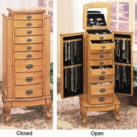 Powell 252 Pine Jewelry Armoire