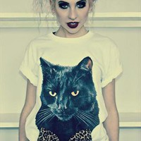 Black Cat Leopard Print Bow White T-shirt from Alice-takes-a-trip