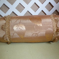 Antique Gold Bolster Pillow or Neckroll with Leaf Pattern