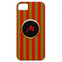 Red and Gold Striped Monogram Case for iPhone 5 iPhone 5 Cover from Zazzle.com