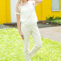 White Gauze Panel Blouse from Wanderland