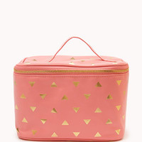Metallic Triangle Print Cosmetic Bag