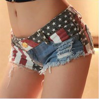 Jeans Shorts with US Flag 001 from findal lhere