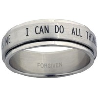 I Can Do All Things Stainless Steel Spinner Ring size 8
