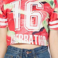 watermelon pattern crop top tee t-shirt from mancphoebe
