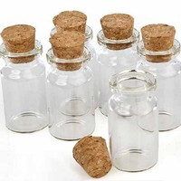 "Package of 24 Small Mini Glass Jars with Cork Stoppers - Size: 1-1/2"" Tall X 3/4 Inches Diameter"