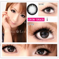 Royal Vision Hypersize Circle Black Circle Lenses Colored Contacts Cosmetic Big Eye Contact Lens | EyeCandy's