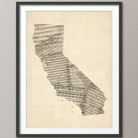 Old Sheet Music Map of California  USA, Art Print 18x24 inch (336)