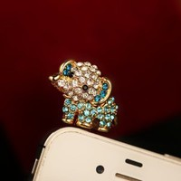 Cute Rhinestone Baby Elephant Plugy for iPhone SAMSUMG