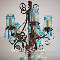 New Style...Mason Jar Chandelier...Aqua Crystals....Made To ORDER....Shabbyfufu ORIGINALS