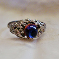 Silver Tone Engagement Ring, with an irredescent crystal ball - Size 6.5
