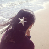White Starfish Barrette - Starfish Hair Clip - Beach Wedding Bridesmaids Gifts Beach Hair Accessories Cute Adorable Elegant Whimsical Dreamy
