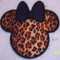 Large Cheetah leopard iron on personalize Minnie applique patch