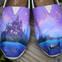 Fairytale Original Custom Acrylic Painting for Toms/Canvas Shoes TOMS NOT INCLUDED