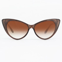 Designer Inspired 'Nikita' Cat Eye Sunglasses - Brown #1017-6